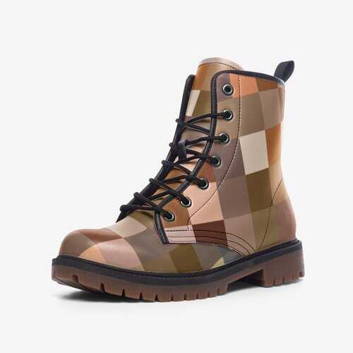 Leather Boots, Multicolor Brown Block Martin Style Boots