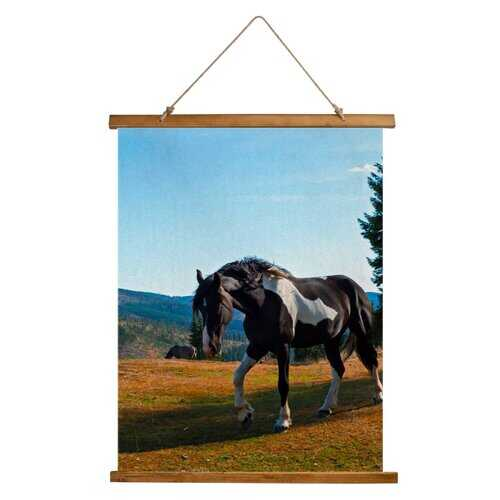 Home Decor, Black And White Stallion Horse Nature Landscape Custom Wood Tapestry