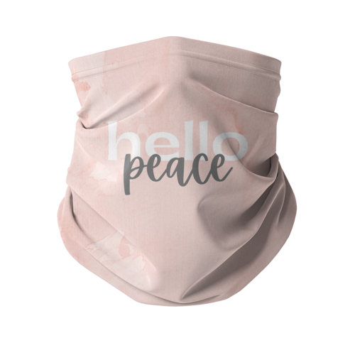 Peach Marble Hello Peace Graphic Style Sublimation Neck Gaiter