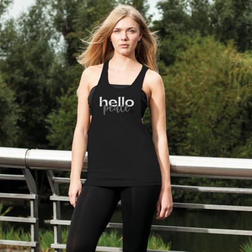Womens Sportswear, Peach Marble Hello Peace Graphic Style Loose Racerback Tank Top