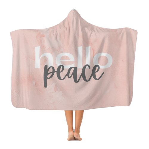 Peach Marble Hello Peace Graphic Style Premium Adult Hooded Blanket