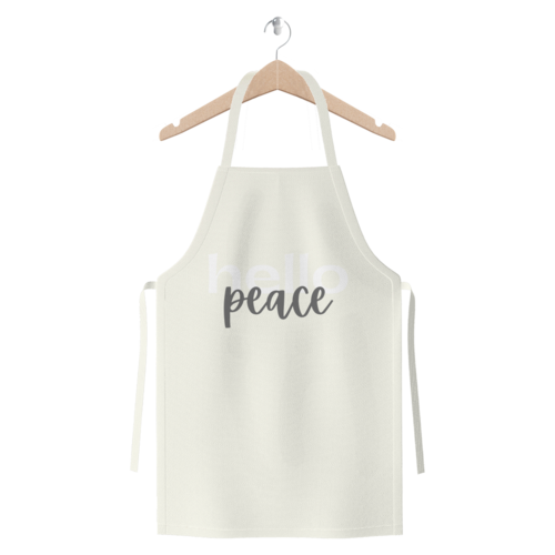 Peach Marble Hello Peace Graphic Style Premium Jersey Apron