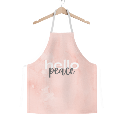 Peach Marble Hello Peace Graphic Style Classic Adult Apron