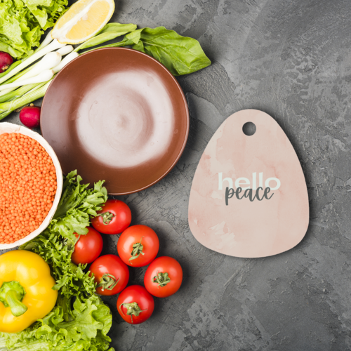 Peach Marble Hello Peace Graphic Style Sublimation Glass Cutting Board