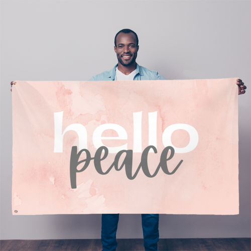 Peach Marble Hello Peace Graphic Style Flag