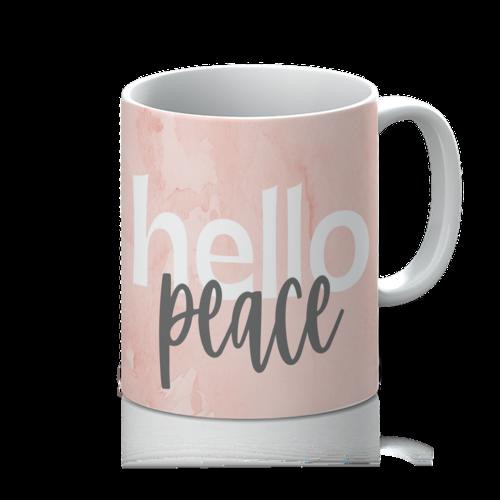 Peach Marble Hello Peace Graphic Style 11oz Mug