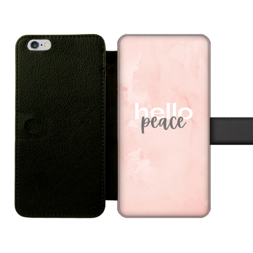 Peach Marble Hello Peace Graphic Style Front Printed Wallet Cases