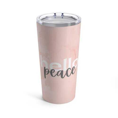 Drinkware, Peach Marble Hello Peach Graphic Style Tumbler 20oz