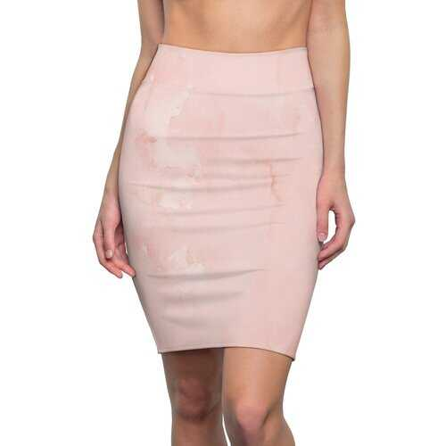 Womens Skirts, Peach Marble Graphic Style Pencil Skirt