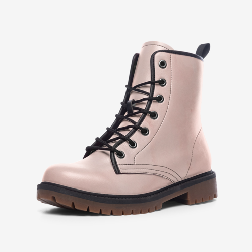 Leather Boots, Peach Marble Graphic Style Mid-Calf Fashion Boots