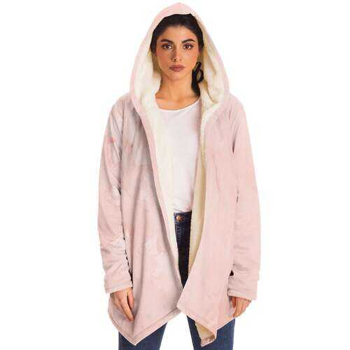 Womens Jackets, Peach Marble Graphic Style Fleece Cloak