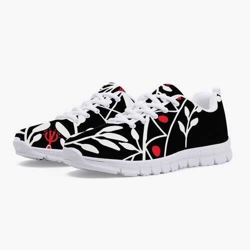 Athletic Shoes, Black Red and White Floral Style Athletic Sneakers - White/Black