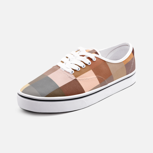 Canvas Shoes, Brown Tone Checker Style Low Cut Loafer Sneakers