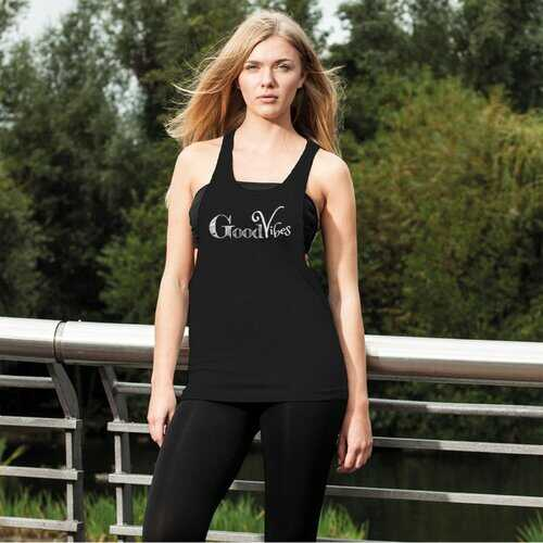 Good Vibes Graphic Style Womens Loose Racerback Tank Top