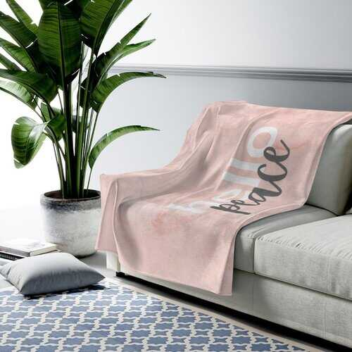 Accent Throw Blankets, Peach Marble Hello Peace Graphic Style Velveteen Plush Blanket