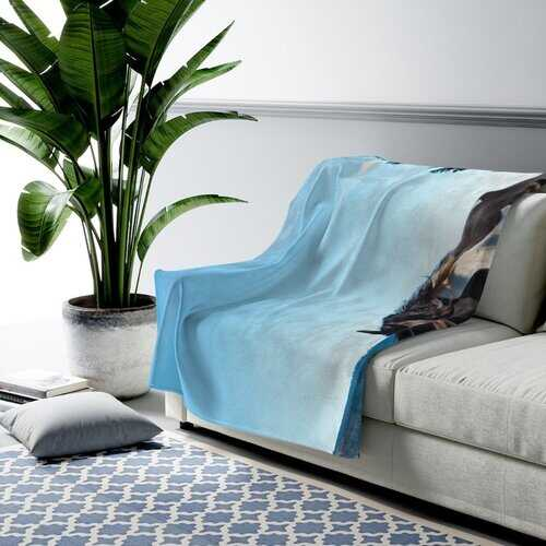 Accent Blanket, Black and White Stallion Horse Style Throw Blanket