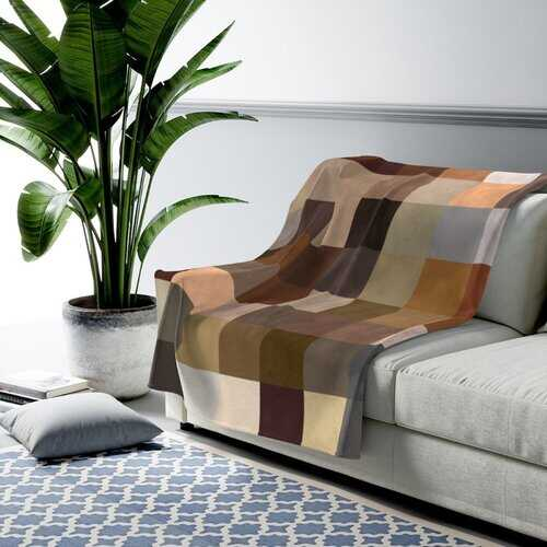 Accent Blankets, Multicolor Block Natural Brown Style Throw Blanket