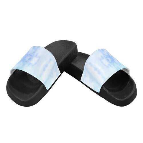 Flip-Flop Sandals, Blue Watercolor Style Womens Slides