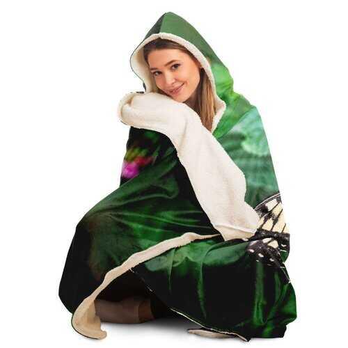 Hooded Blankets, Vibrant Butterfly Style Green Fleece Blanket