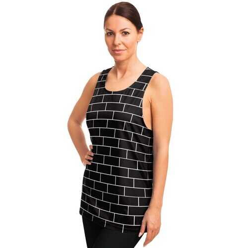Womens Athletic Shirts, Black And White Block Style Tank Top