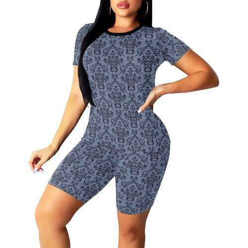 Womens Outfits, Paisley Blue Graphic Style Womens Short Yoga Set