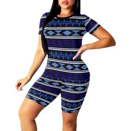 Womens Outfits, Dark And Light Blue Aztec Style Womens Short Yoga Set