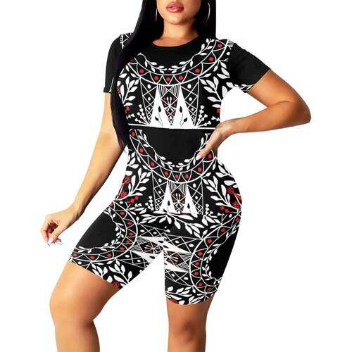 Womens Outfits, Black Red And White Floral Style Womens Short Yoga Set