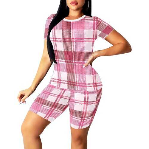 Womens Outfits, Pink And White Plaid Crosshatch Style Womens Short Yoga Set