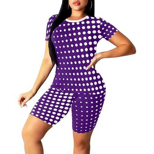 Womens Outfits, Purple And White Dotted Style Womens Short Yoga Set