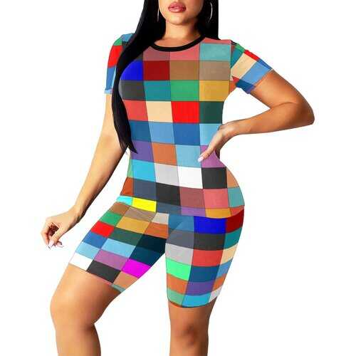 Womens Outfits, Multicolor Block Style Womens Short Yoga Set