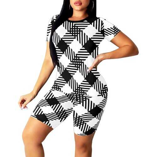 Womens Outfits, Black And White Plaid Style Womens Short Yoga Set