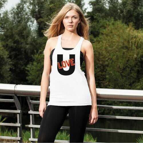 Love U Graphic Style Womens Loose Racerback Tank Top