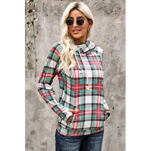 Womens Tops, Red Cowl Neck Plaid Long Sleeve Hoodie Shirt