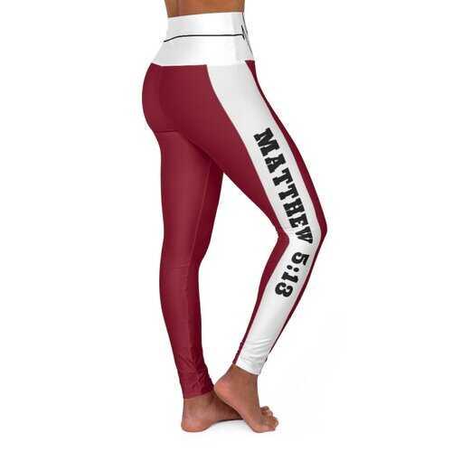 High Waisted Yoga Leggings, Burgundy Salt Of The Earth Matthew 5:13 Beating Heart Sports Pants