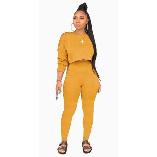 Womens Tracksuits, Two Piece Long Sleeve Crop Top and Pant Set