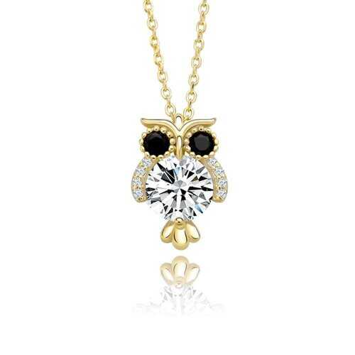 925 Sterling Silver, Glittering Owl Pendant Necklace