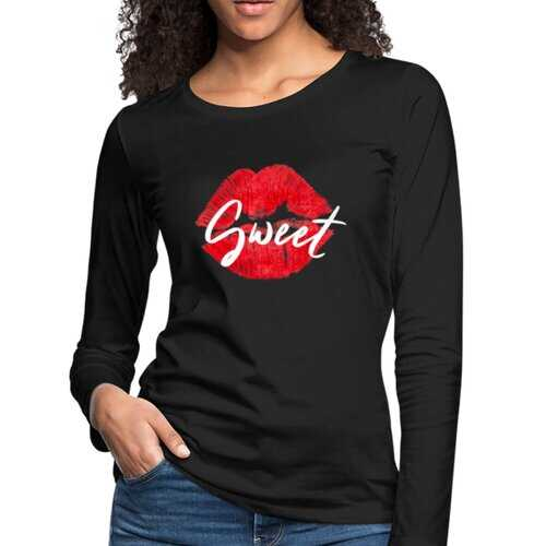 Womens Shirts, Sweet Kiss Red Lipstick Style White Graphic Text Long Sleeve Tee