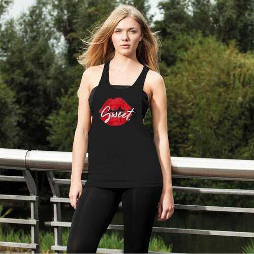 Sweet Kiss Red Lipstick Style Women'S Loose Racerback Tank Top