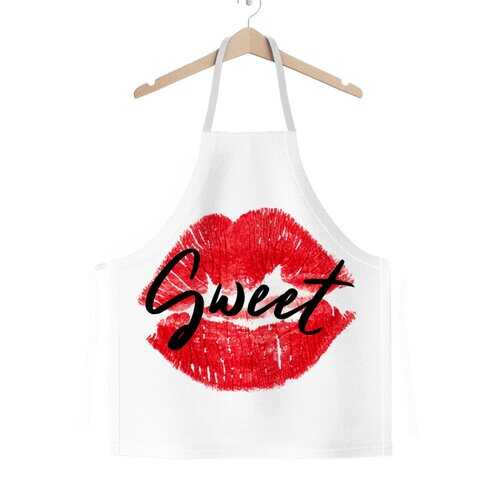 Sweet Kiss Red Lipstick Black Graphic Text Style Classic Sublimation Adult Apron
