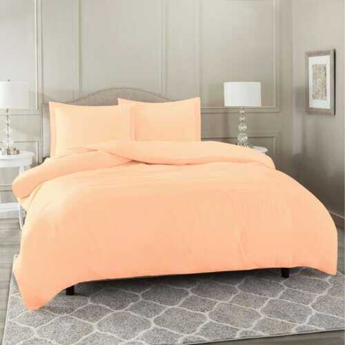 Bedding, Soft Brushed Duvet Cover Set w/Pillow Sham, Peach - Queen