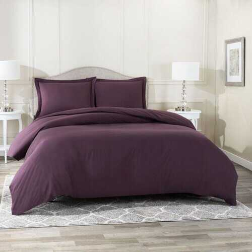 Bedding, Soft Brushed Duvet Cover Set w/Pillow Sham, Eggplant - Queen