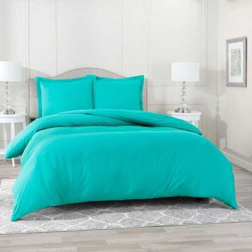 Bedding, Soft Brushed Duvet Cover Set w/Pillow Sham, Teal Green - King
