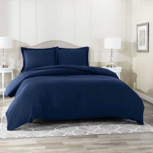 Bedding, Soft Brushed Duvet Cover Set w/Pillow Sham, Navy - King