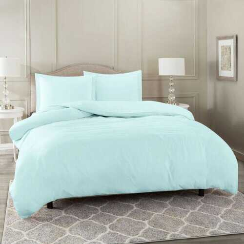 Bedding, Soft Brushed Duvet Cover Set w/Pillow Sham, Baby Blue - King