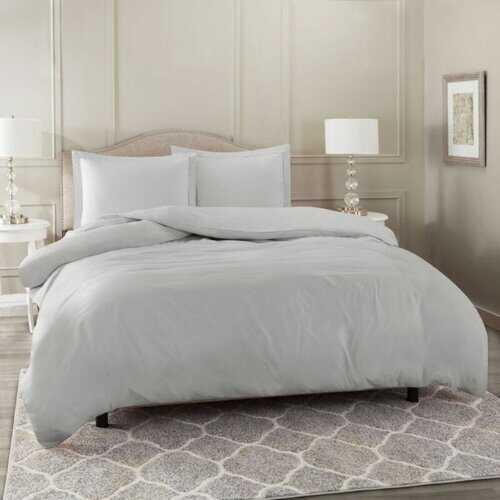 Bedding, Soft Brushed Duvet Cover Set w/Pillow Sham, Silver - Full