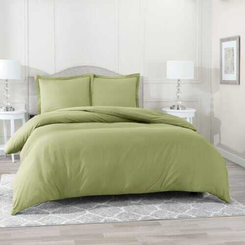 Bedding, Soft Brushed Duvet Cover Set w/Pillow Sham, Sage - King