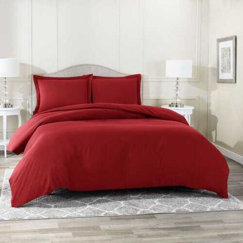 Bedding, Soft Brushed Duvet Cover Set w/Pillow Sham, Burgundy - Twin