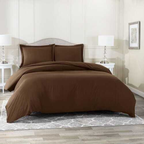 Bedding, Soft Brushed Duvet Cover Set w/Pillow Sham, Chocolate - Queen