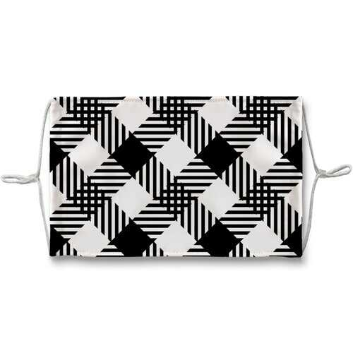 Black And White Plaid Style Face Mask + 10 Replacement Filters
