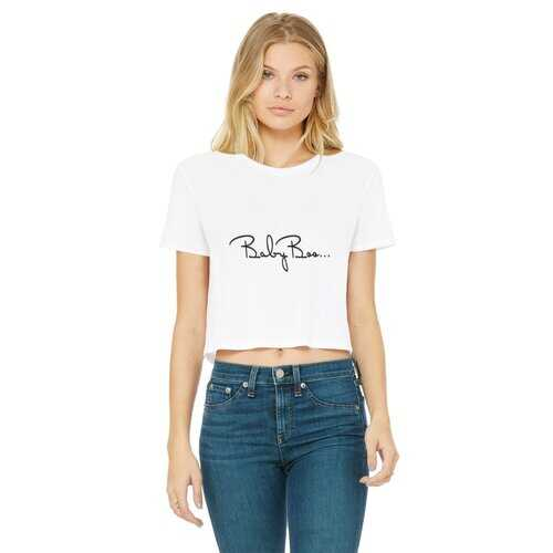 Baby Boo Black Graphic Style Women'S Classic Cropped Raw Edge T-Shirt